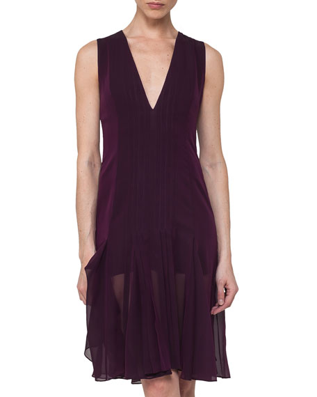 Akris Silk Georgette Sleeveless V-Neck Pleated Dress, Purple