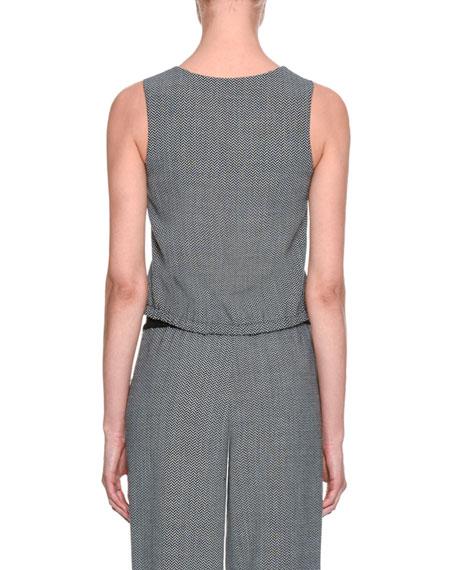 Giorgio Armani Herringbone Blouson Vest, Gray