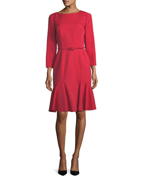 Carolina Herrera Belted Stretch-Wool Flounce Dress, Red