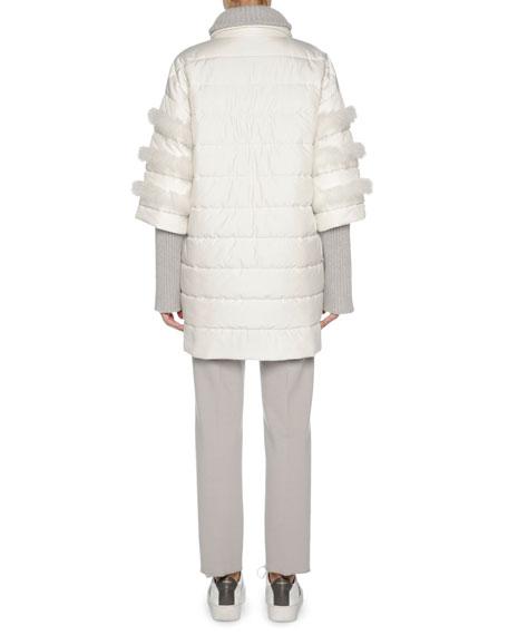 Agnona Puffer Jacket with Fox Fur Trim