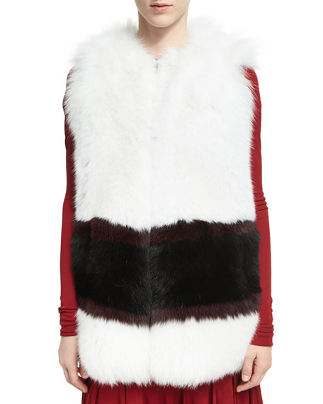 Derek Lam Graphic-Stripe Fox Fur Vest and Matching