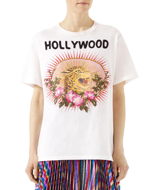 332ba158198b Gucci Leopard Print Cotton T-Shirt, White | Neiman Marcus