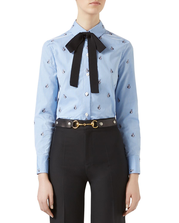 64108d03b Gucci Rabbit Fil Coupé Shirt, Light Blue | Neiman Marcus