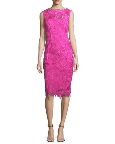 Guipure Lace Sleeveless Sheath Dress