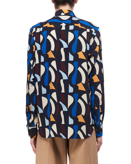 Patch-Pocket Abstract-Print Silk Shirt