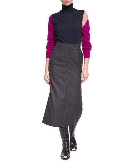 Plaid Wool-Silk Midi Skirt