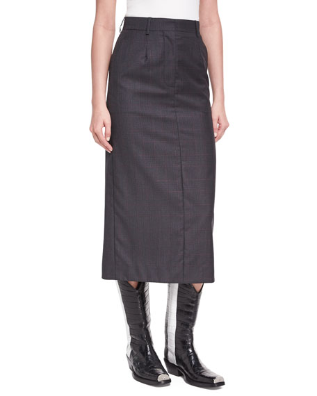 CALVIN KLEIN 205W39NYC Plaid Wool-Silk Midi Skirt
