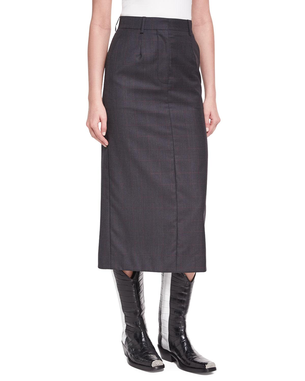 6644af2a61 CALVIN KLEIN 205W39NYC Plaid Wool-Silk Midi Skirt | Neiman Marcus
