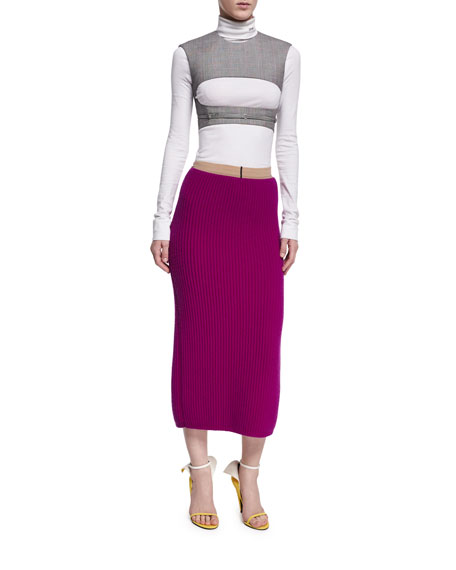 Ribbed Wool-Silk Pencil Skirt