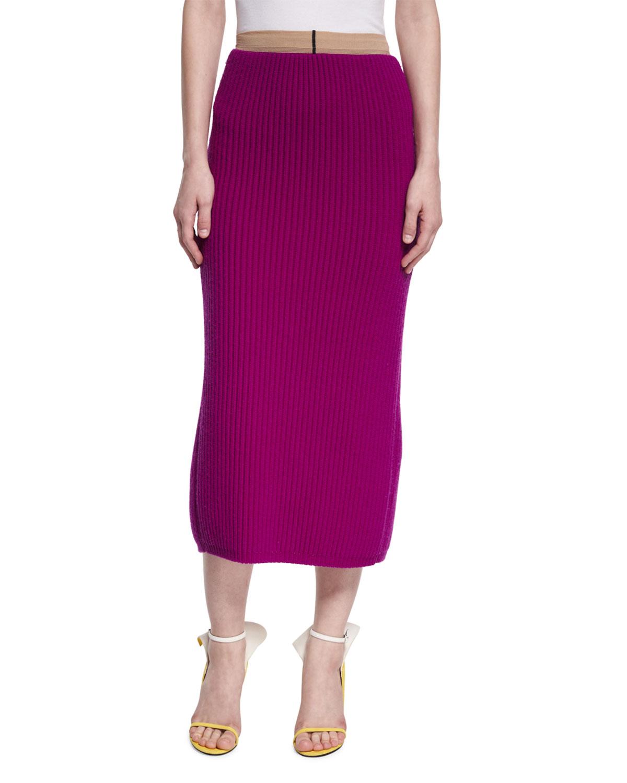 Calvin Klein 205w39nyc Ribbed Wool Silk Pencil Skirt