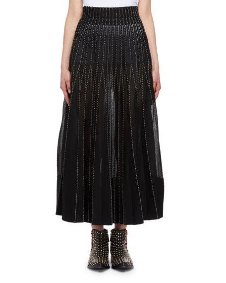 Floral Needlepoint Pleated Skirt