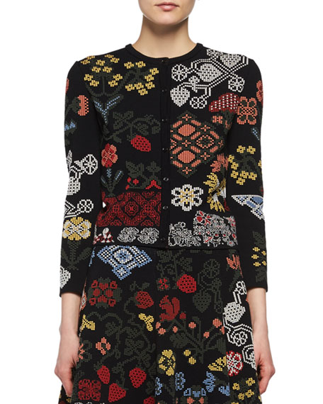 Alexander McQueen Metallic-Needlepoint Peplum Cardigan and