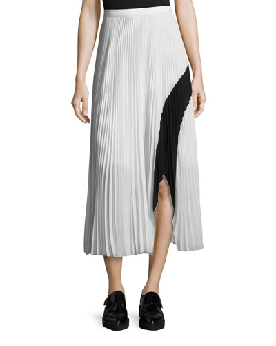 Plisse Plated Asymmetric-Hem Maxi Skirt, White/Black