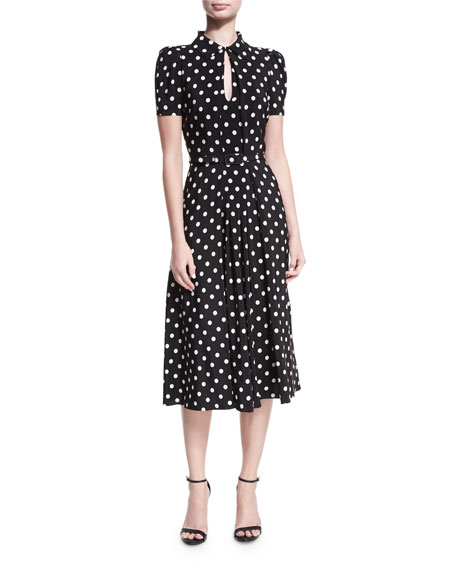 Ralph Lauren Collection Mariella Polka-Dot Short-Sleeve Midi