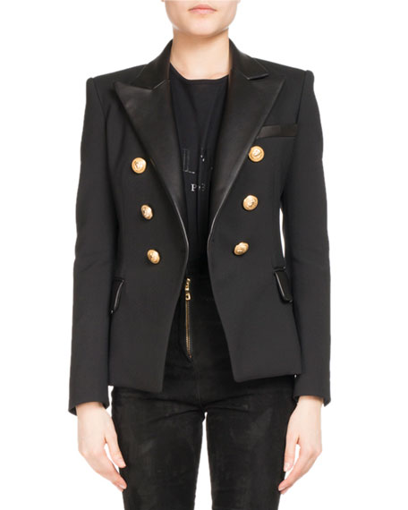 Double-Breasted Leather-Collar Blazer