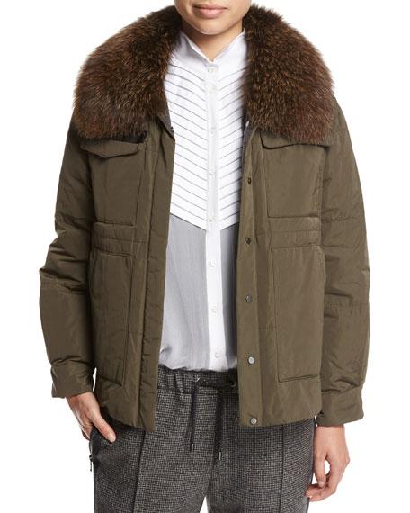 Brunello Cucinelli Taffeta Puffer Jacket with Fox Fur