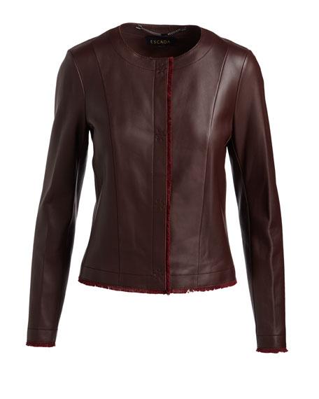 Napa Leather Fringe-Trim Jacket