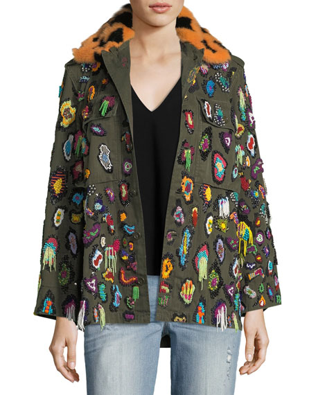 Libertine Beaded Army Jacket with Fur Collar
