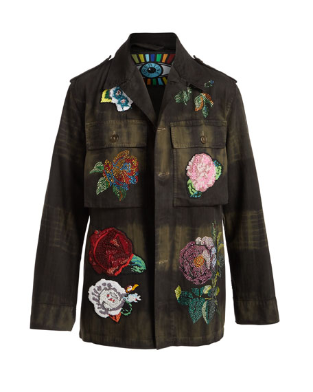 Beaded Floral-Embroidered Army Jacket