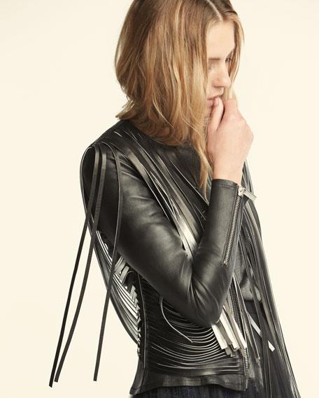 Retrograde Fringed Leather Biker Jacket