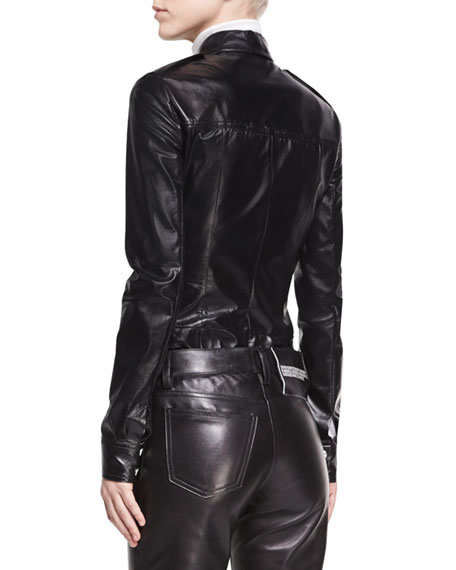 Leather Snap-Front Utility Shirt