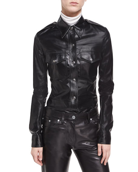 Leather Snap-Front Utility Shirt, Black