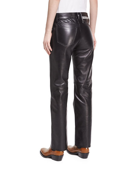 Leather Straight-Leg Jeans