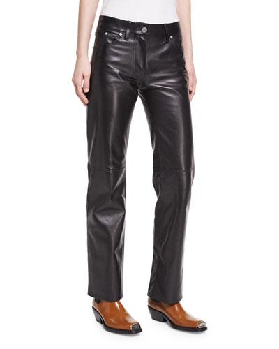 Leather Straight-Leg Jeans