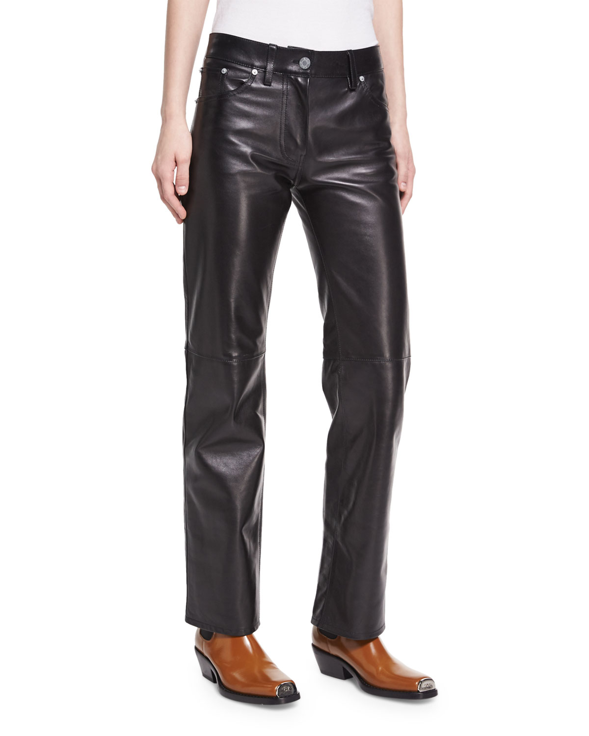 f2265363d27f CALVIN KLEIN 205W39NYC Leather Straight-Leg Jeans