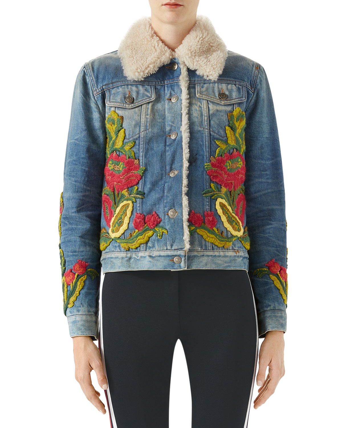 ca7e901e5b46 Gucci Floral-Embroidered Denim Jacket w  Shearling Fur