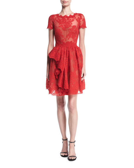 Marchesa Floral Lace Cap-Sleeve Dress