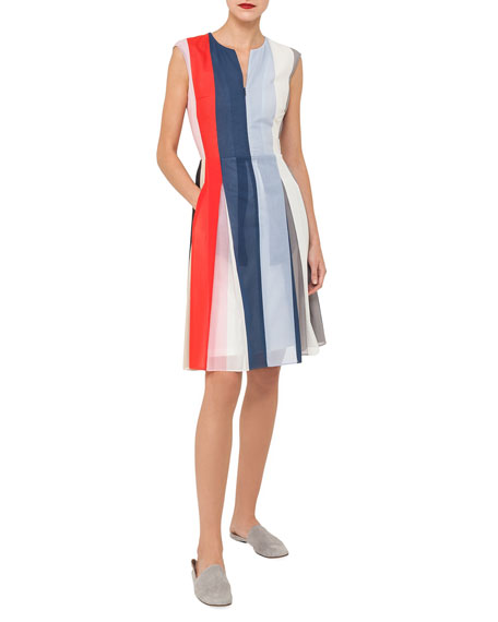 Akris Zip-Front Sleeveless Striped Voile Dress