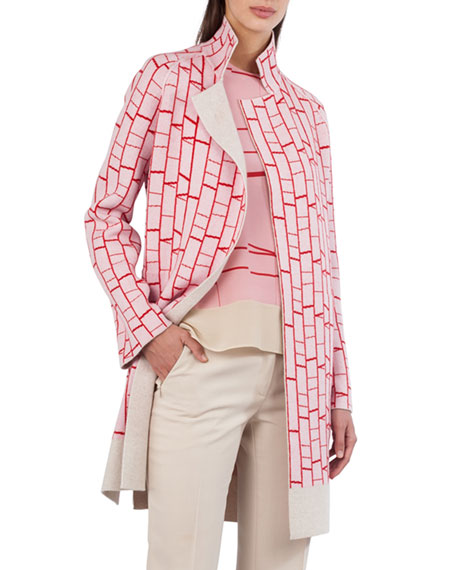 Open-Front Reversible Striped Cashmere Knit Cardigan Coat