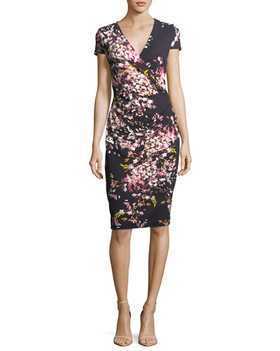 Floral-Print Jersey Cocktail Sheath Dress
