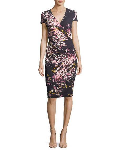 Escada Floral-Print Jersey Cocktail Sheath Dress