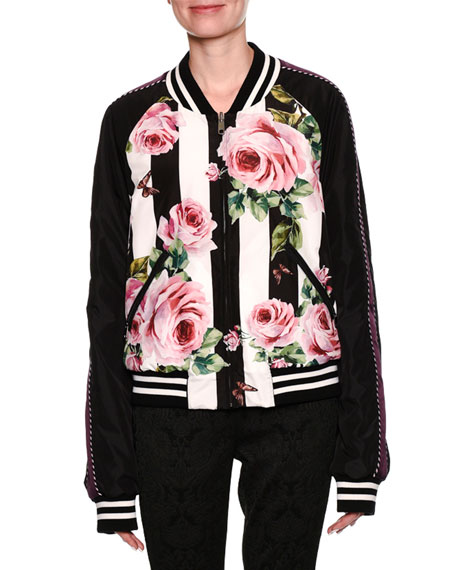 Dolce & Gabbana Striped Rose-Print Reversible Bomber Jacket