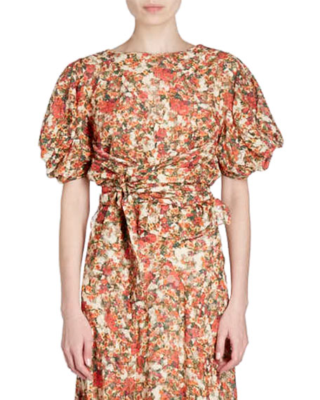 Fleming Belted Floral-Burnout Short-Sleeve Wrap Top