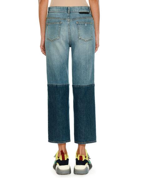 Straight-Leg Cropped Two-Tone Denim Jeans