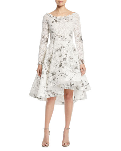 Bateau-Neck Long-Sleeve Shadow-Print Floral-Lace Cocktail Dress