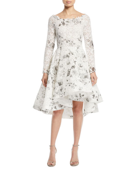 Bateau-Neck Long-Sleeve Shadow-Print Floral-Lace Cocktail Dress