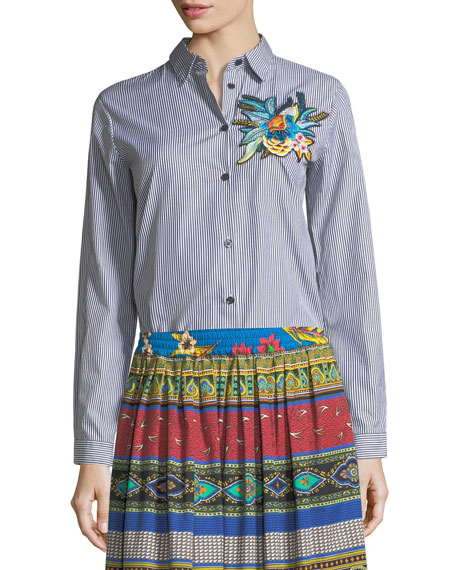 Etro Floral-Embroidered Striped Shirt and Matching Items