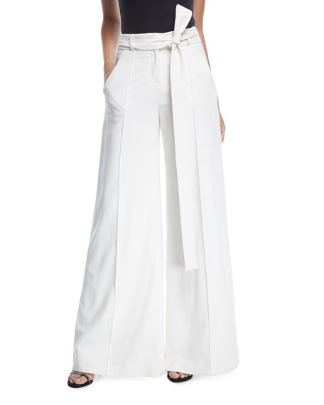 Carolina Herrera High-Waist Wide-Leg Pants with Ribbon Belt