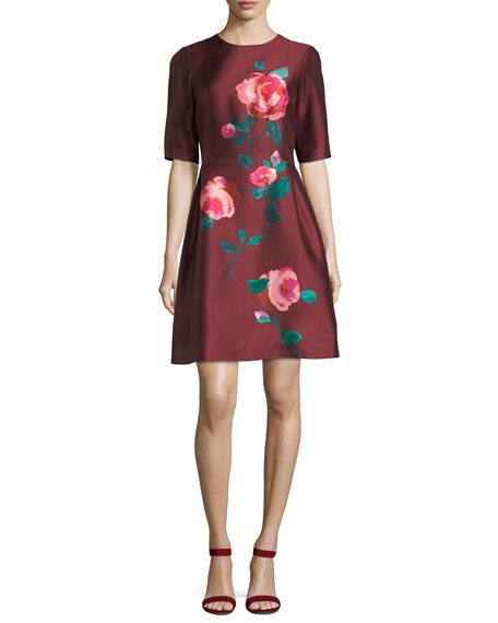 Lela Rose Elbow-Sleeve Fit-and-Flare Floral-Print Cocktail Dress
