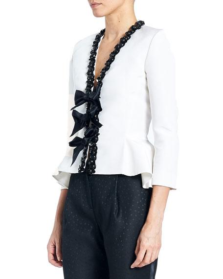 Embellished Bow-Front Peplum Jacket