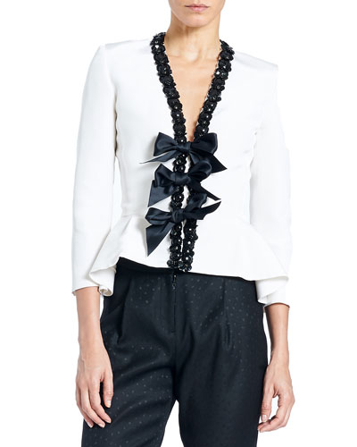 Embellished Bow-Front Peplum Jacket