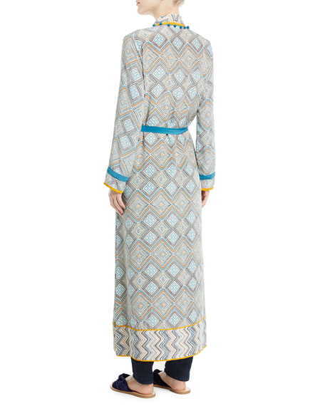 Print Robe Coat with Rope Belt & Pompom Trim