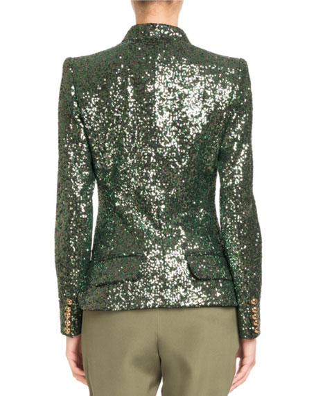 Single-Breasted Tailored Sequin Jacket