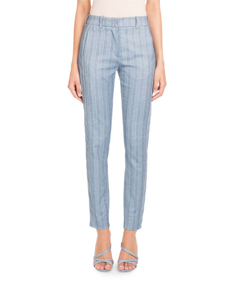 Straight-Leg Striped Cotton-Linen Pants
