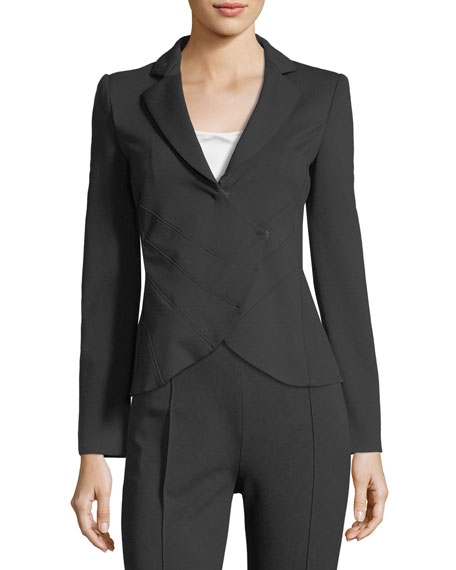 Emporio Armani Notched-Lapel Asymmetrical Ruched Jacket and