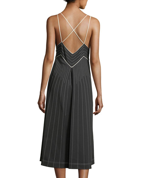 Image 3 of 3: Valentino Plunging Sleeveless Jersey Dress with Contrast Topstitching